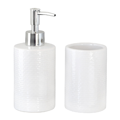 2tlg. Bad-Set MERET weiß Seifenspender Zahnbürstenhalter modern Ziegelwand Mauer