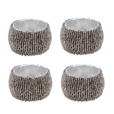4tlg. Serviettenring FESTIVE antiksilber silber aus Metall mit Perlen NR-6515