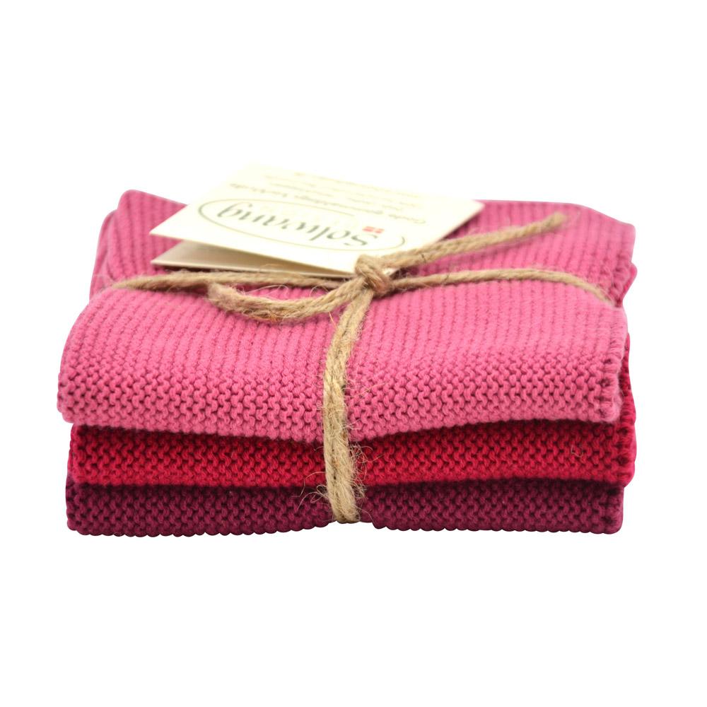 ANTIK ROSA 3er SOLWANG Wischtuch Küchentuch Waschlappen aus Baumwolle
