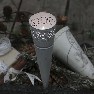 2tlg. Set Spitztüte NOSTALGIE antik weiß Metall shabby chic Teelichthalter Tüte