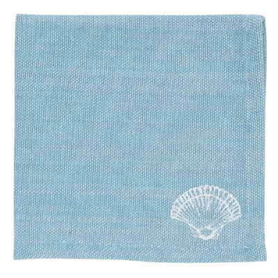 6tlg. Stoffserviette SEA SHELLS aqua blau weiß Muscheln Coastal Farmhouse