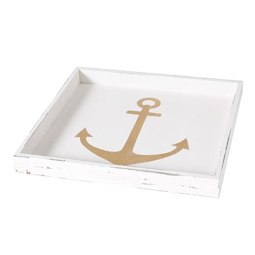 Tablett ANCHOR weiß gold aus Holz Anker Hampton Long Island maritim - GROSS