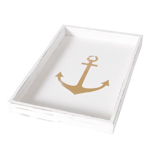 Tablett ANCHOR weiß gold aus Holz Anker Hampton Long Island maritim - MITTEL