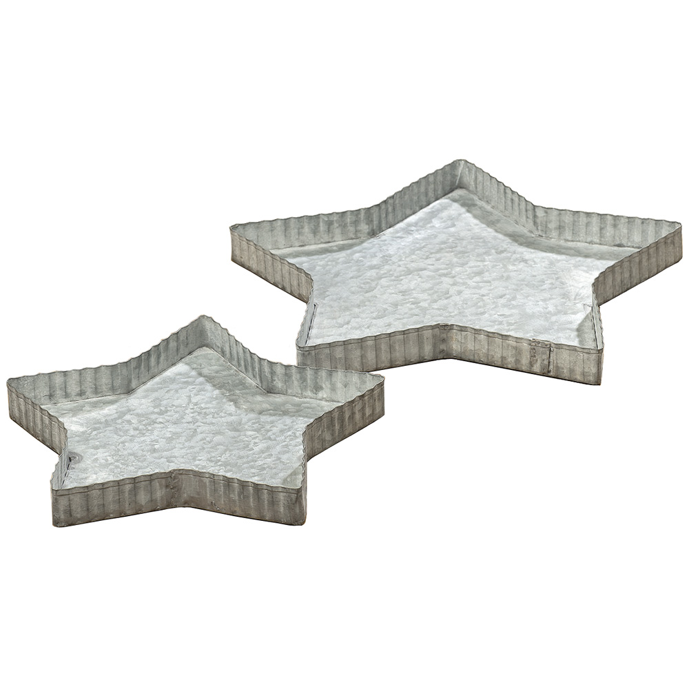 2tlg tablett stern grau shabby chic metall kerzentablett. Black Bedroom Furniture Sets. Home Design Ideas
