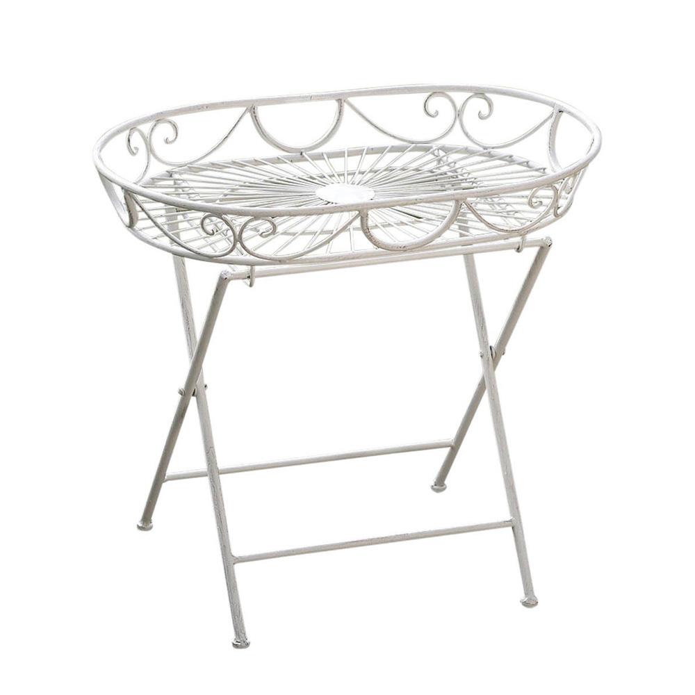 ovaler metalltisch rosali creme wei klapptisch eisen tabletttisch beistelltisch. Black Bedroom Furniture Sets. Home Design Ideas