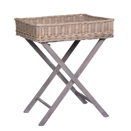 Rattantisch LIVING grau braun Tabletttisch mit Rattantablett Serviertisch Rattan