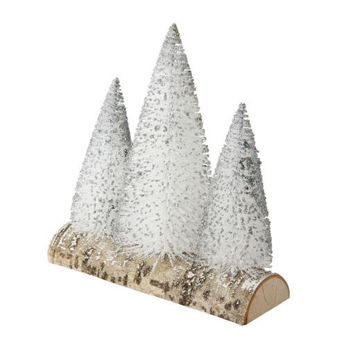 Dekoaufsteller VITKOV weiß silber Tannenbäume auf Holzstamm Weihnachten modern