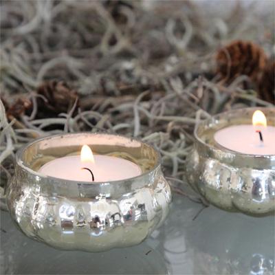 4tlg. Set Teelichthalter DURABLE im Bauernsilberstil antik silber