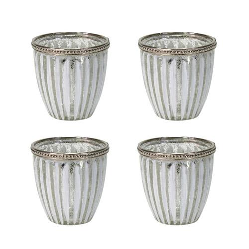 4tlg. Windlicht WHITE STRIPES silber weiß gestreift aus Glas mit Metallrand