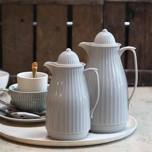 Thermoskanne MERIT hellgrau im Landhausstil Kaffeekanne Teekanne 1l