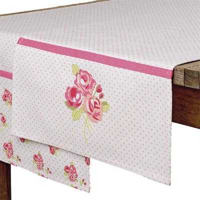 Tischläufer ROSIE weiß rosa gepunktet mit Rosenmuster (2) -  3 GROSSE ROSEN