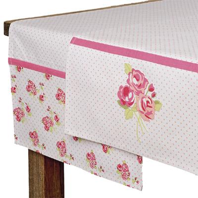 Tischläufer ROSIE weiß rosa gepunktet mit Rosenmuster (1) -  VIELE KLEINE ROSEN