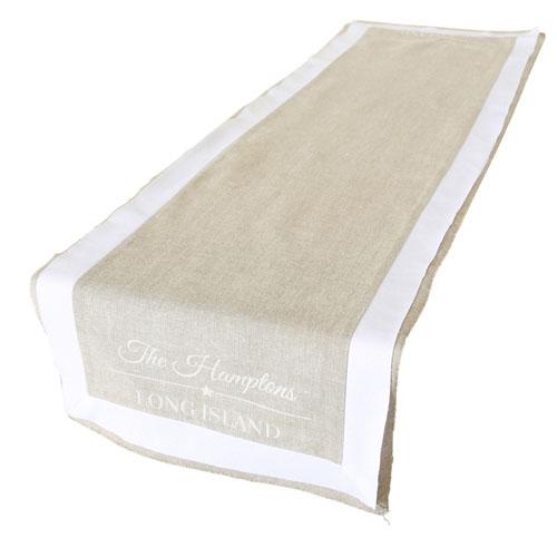 Tischläufer THE HAMPTONS weiß beige aus Baumwolle Long Island Deko - BEIGE