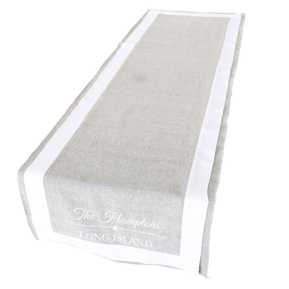 Tischläufer THE HAMPTONS weiß grau aus Baumwolle Long Island Deko - GRAU