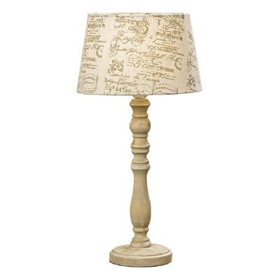 Tischlampe CHLOE beige braun nostalgisch antik mit alter Schrift bedruckt