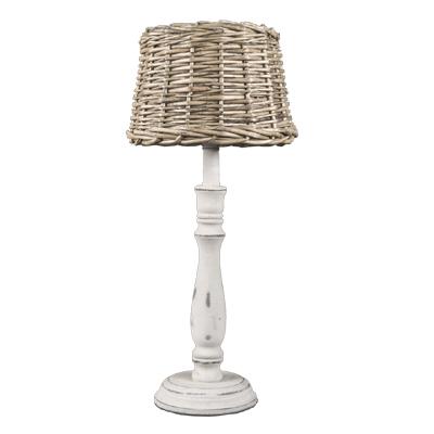 Tischlampe HAMPTONS shabby weiß braun mit Rattanlampenschirm Long Island E14
