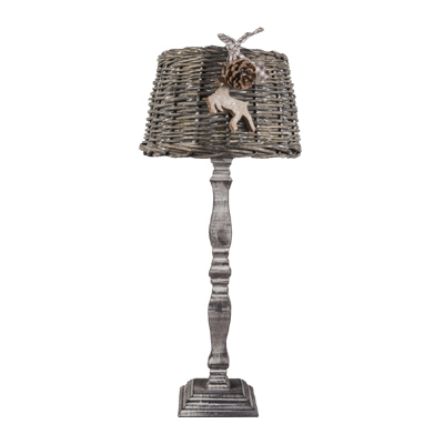 tischlampe winter antik braun mit rattanlampenschirm landhaus rattan holzfu ebay. Black Bedroom Furniture Sets. Home Design Ideas