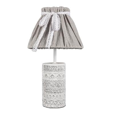 tischlampe vintage chic wei grau mit verziertem betonfu shabby chic e14. Black Bedroom Furniture Sets. Home Design Ideas