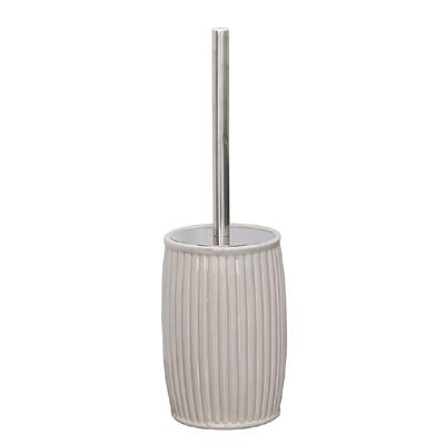 Toilettenbürste CARLIEN grau beige greige Toilettenbürstenhalter geriffelt Kugel
