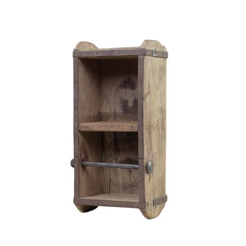 Toilettenpapierhalter BRICK braun Holz und Metall Wandhalterung Ziegelsteinform