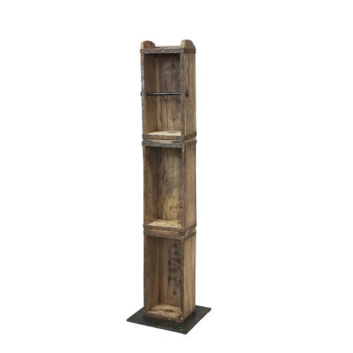 Toilettenpapierhalter BRICK braun Holz und Metall Standhalterung Ziegelsteinform