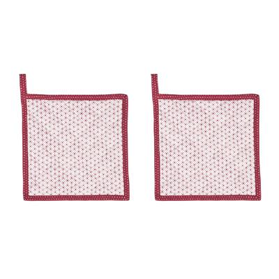 2tlg. Topflappen MARIECHEN rot weiß gemustert aus Baumwolle