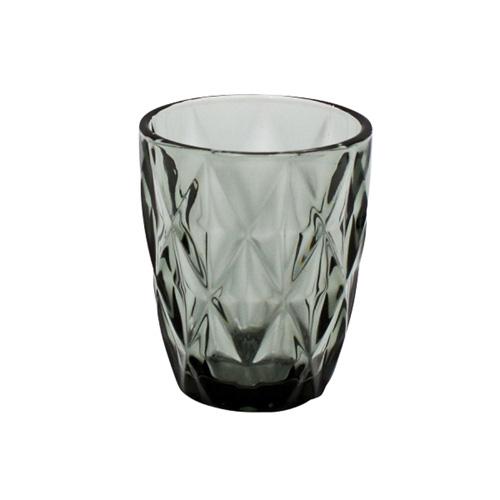 Wasserglas MADISON grau anthrazit Trinkglas mit Rautenmuster Retro