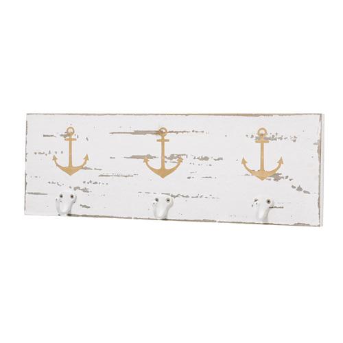 Garderobe ANCHOR aus Holz 3er Hakenleiste Hampton Long Island maritim - WEISS