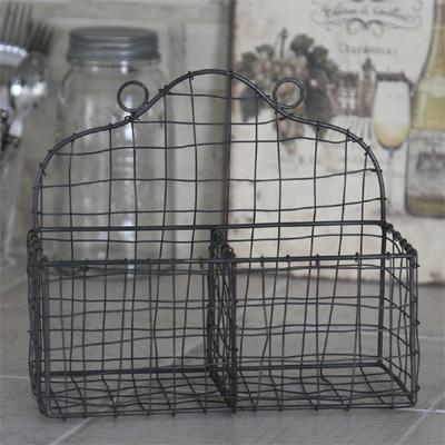 Wandkorb FIL DE FER dunkelgrau Drahtkorb mit 2 Fächern shabby chic aus Eisen