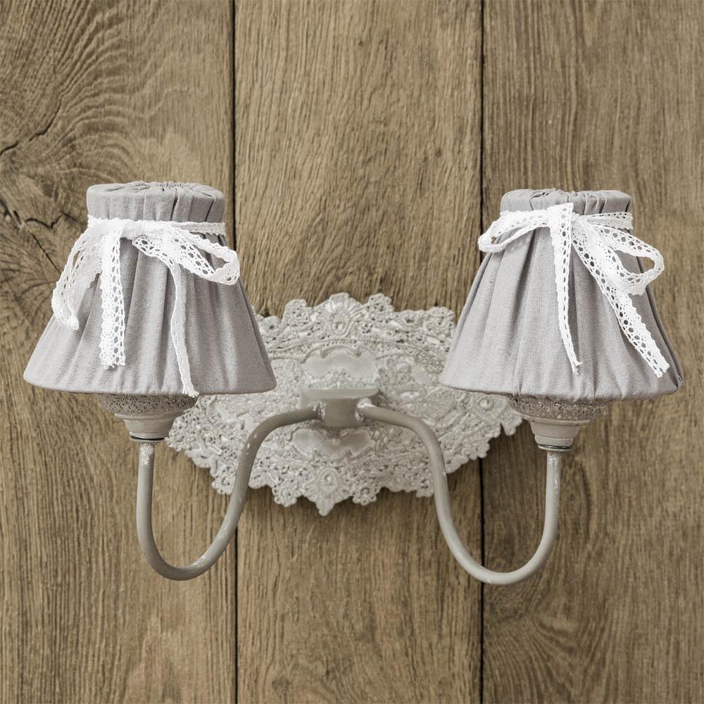 wandlampe emile ecru grau 2 armig im landhausstil shabby chic. Black Bedroom Furniture Sets. Home Design Ideas