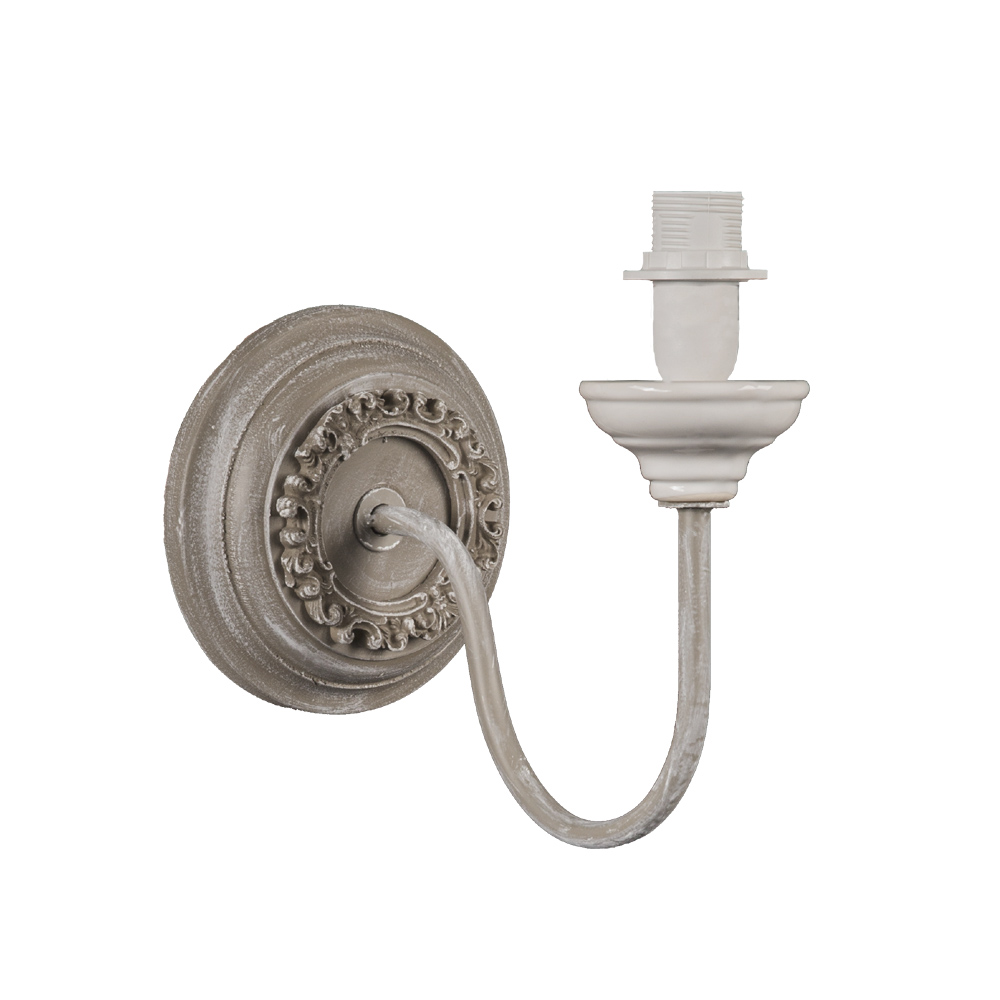 wandlampe yvette taupe ecru im landhausstil french shabby chic wandleuchte. Black Bedroom Furniture Sets. Home Design Ideas