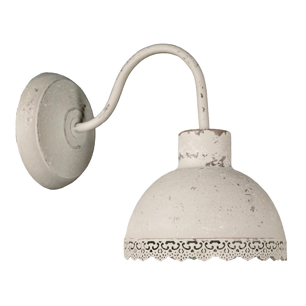 Rustikale Wandleuchte Shabby Braun Beige E14 Lampe Wand: Wandlampe EMILIE Greige Grau Beige Spitzenkante Shabby