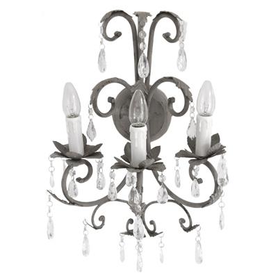 grafelstein wandlampe shabby grey 3 armig antik grau wandkronleuchter eisen mit kristallen. Black Bedroom Furniture Sets. Home Design Ideas