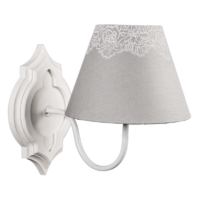 Wandlampe MATHILDE weiß grau Blumenmuster Landhausstil Wandleuchte shabby chic