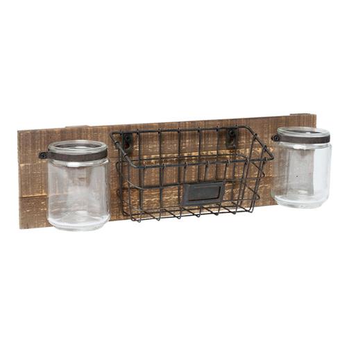 Wandregal OFFICE braun schwarz aus Holz und Metall mit Gläsern Industrial