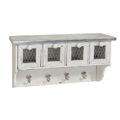 Wandschrank FRED weiß silber aus Holz mit Schubladen Garderobe Regal