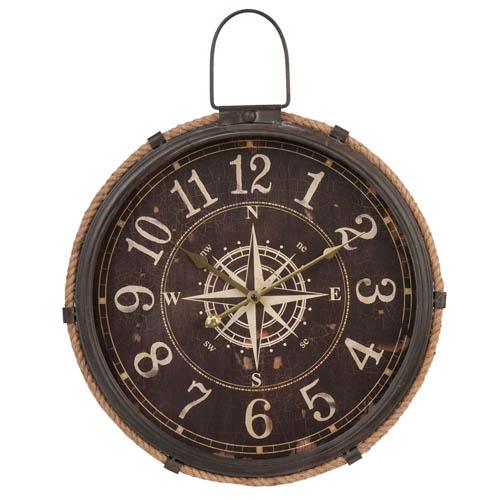 XL-Wanduhr NAUTIC braun aus Metall mit Seil und Windrose maritim Kompass