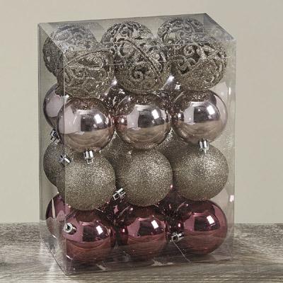 Kugel-Set GLAMOUR rosa champagner 24tlg. Baumschmuck aus Kunststoff Weihnachten