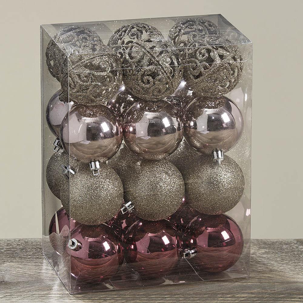 Kugel set glamour rosa champagner 24tlg baumschmuck aus for Weihnachtskugeln altrosa