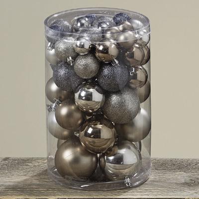 Kugel-Set STARDUST grau champagner 50tlg. Baumschmuck aus Kunststoff Weihnachten