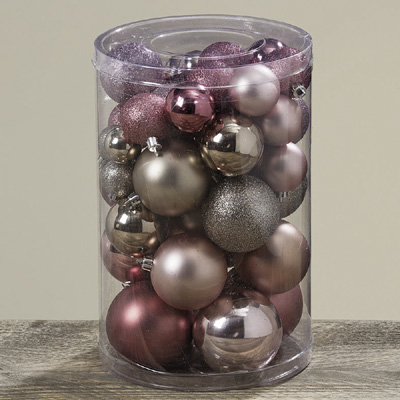Kugel-Set PRINCESS rosa champagner 50tlg. Baumschmuck aus Kunststoff Weihnachten