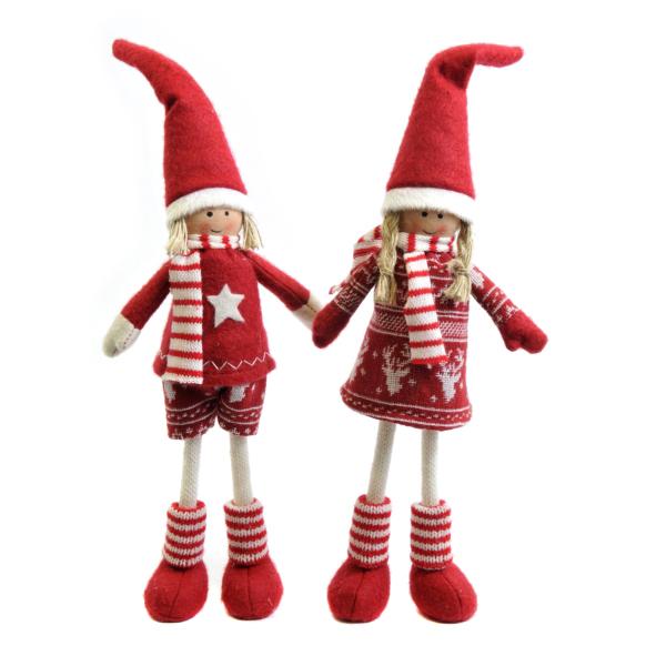2tlg d nische weihnachtspuppe konrad und bibi rot wei m dchen und junge. Black Bedroom Furniture Sets. Home Design Ideas