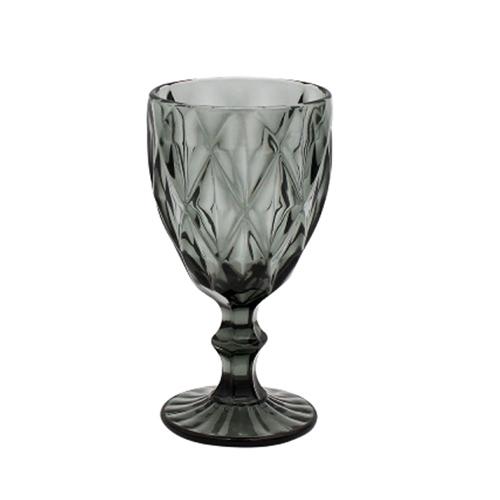 Weinglas MADISON grau anthrazit Trinkglas Weinkelch mit Rautenmuster Retro