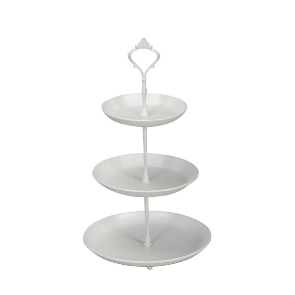 3 st ckige etagere white wei aus metall f r schmuck etc mit 3 tellern. Black Bedroom Furniture Sets. Home Design Ideas