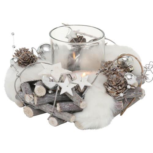 Windlicht NICOLAS grau weiß silber aus Zweigen mit Glaswindlicht und Fell