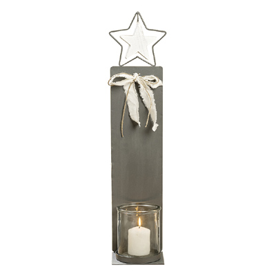 Großes Windlicht METALL STAR grau weiß aus Metall mit Glaseinsatz