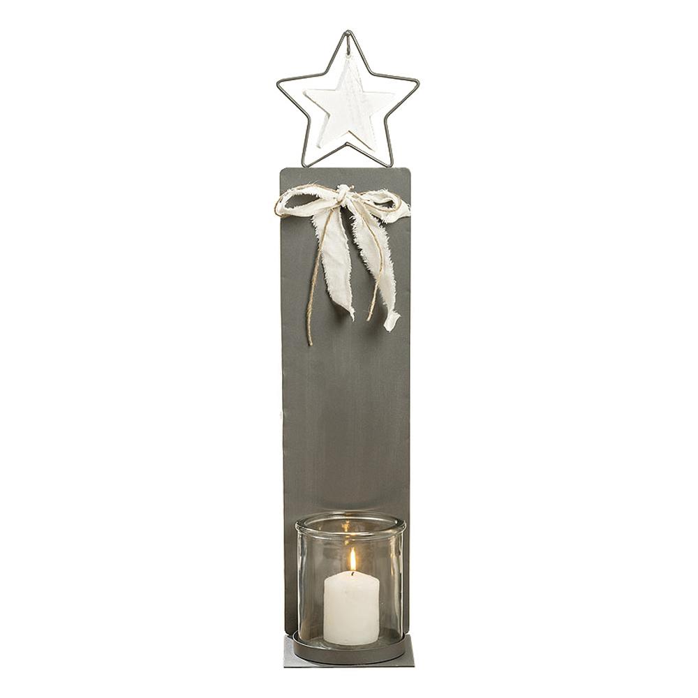 gro es windlicht metall star grau wei aus metall mit glaseinsatz. Black Bedroom Furniture Sets. Home Design Ideas