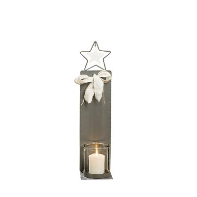 Kleines Windlicht METALL STAR grau weiß aus Metall mit Glaseinsatz