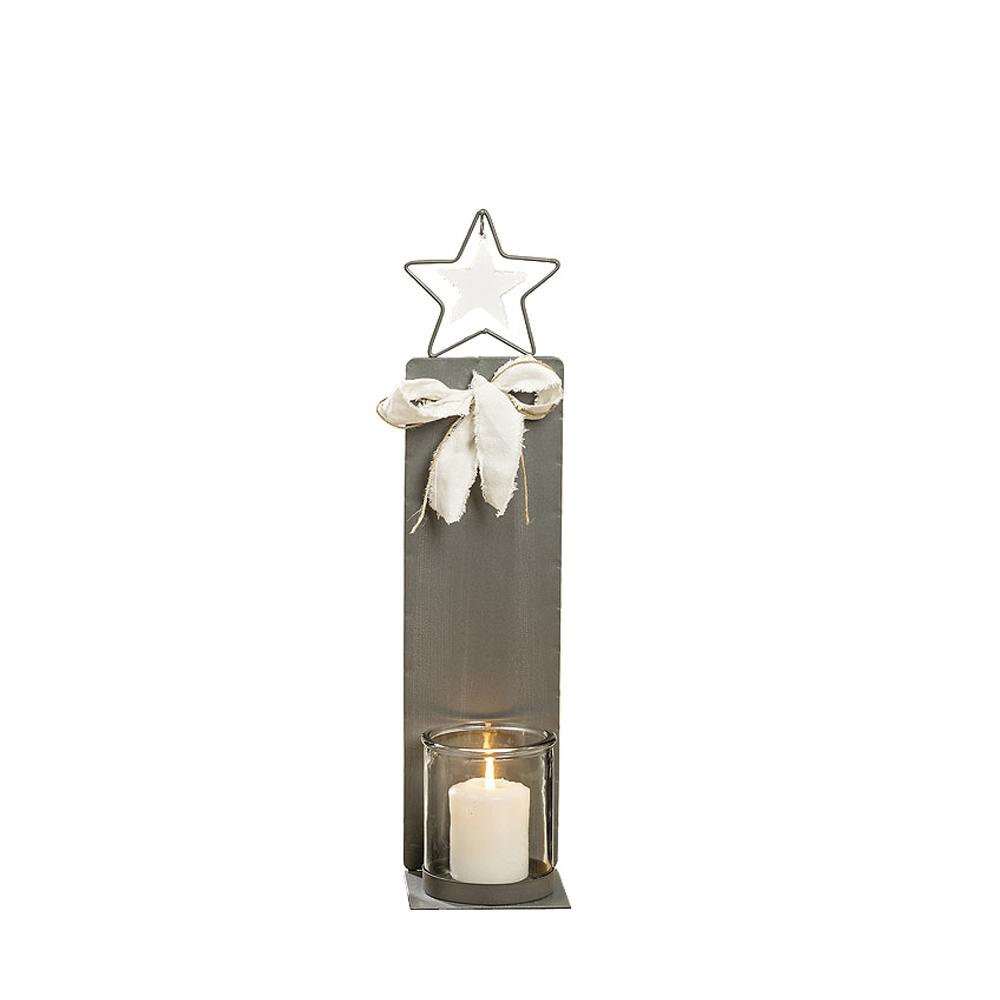 kleines windlicht metall star grau wei aus metall mit glaseinsatz. Black Bedroom Furniture Sets. Home Design Ideas