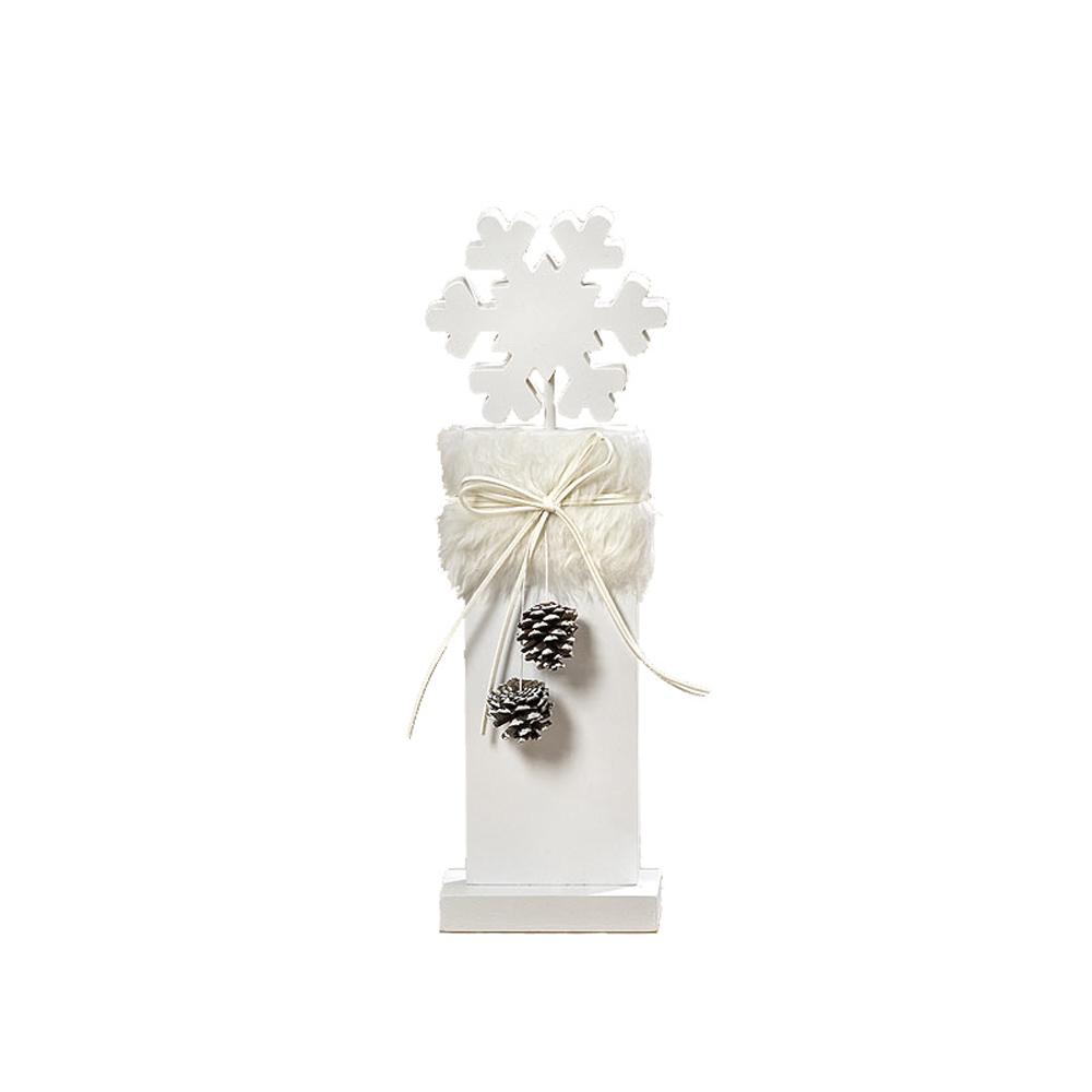 kleiner aufsteller schneeflocke wei aus holz mit kunstfell und tannenzapfen. Black Bedroom Furniture Sets. Home Design Ideas